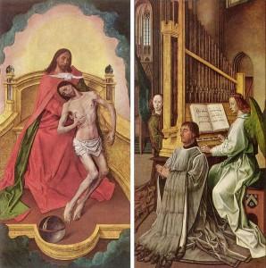 Hugo van der Goes, Anbetung der Dreifaltigkeit, Diptychon, um 1480